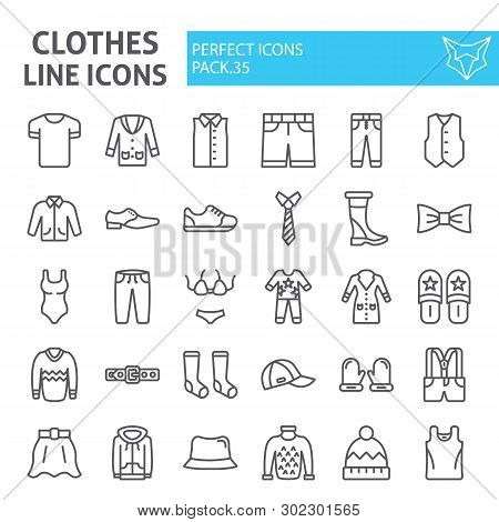 Clothes Line Icon Set, Clothing Symbols Collection, Vector Sketches, Logo Illustrations, Wear Signs