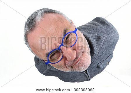 Portrait Of A Man Making Mockery On White