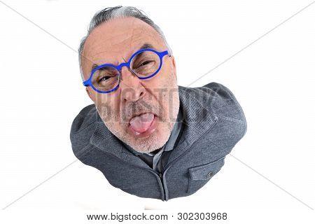 Portrait Of A Man Making Mockery On White Background