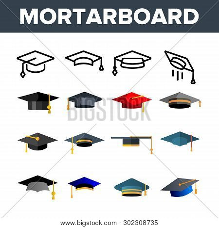 Mortarboard, Academic Cap Vector Color Icons Set. Mortar Board, Education Linear Symbols Pack. Unive
