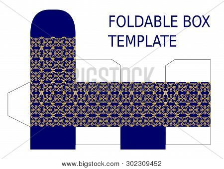Foldable Box Template. Luxurious Box With Small Filigree Golden Vintage Patterns On Dark Blue Backgr