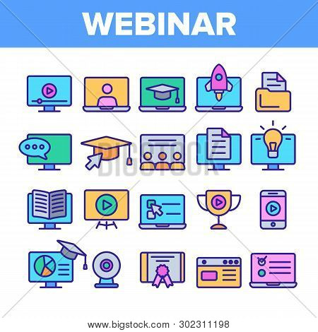 Webinar, Online Education Vector Linear Icons Set. Webinar, Conference, Distance Learning Outline Sy