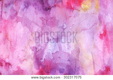 Watercolor Abstract Background. Grunge Light Pink, Purple And Sky White Watercolor Background. Smoot