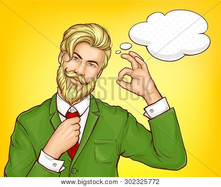 Blond, Bearded Hipster Man, Stylish Businessman In Green Business Suit, Fixing Or Loosening Tie, Sho