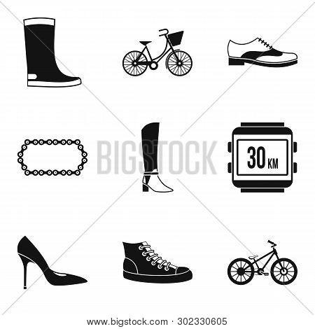 Designer Footgear Icons Set. Simple Set Of 9 Designer Footgear Icons For Web Isolated On White Backg