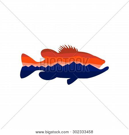 Retro Style Illustration Of Silhouette Of A Largemouth Bass, A Carnivorous Freshwater Gamefish In Th