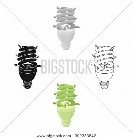 Ecological Fluorescent Lamp Icon In Outline Style Isolated On White Background. Bio And Ecology Symb