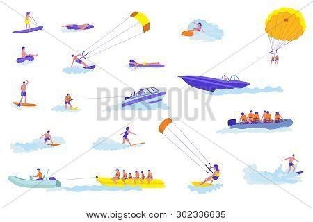 Water Sports Cartoon Vector Illustrations Set. Active Holiday. Adventurous Holidaymakers Flat Charac