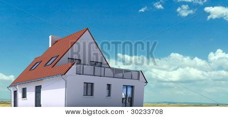 3D architecture model of a house on a real environment
