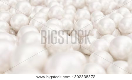 Pile Of Pearls. Background Of The Plurality Of Beautiful Pearls. Gems, Womens Jewelry, Nacre Beads.