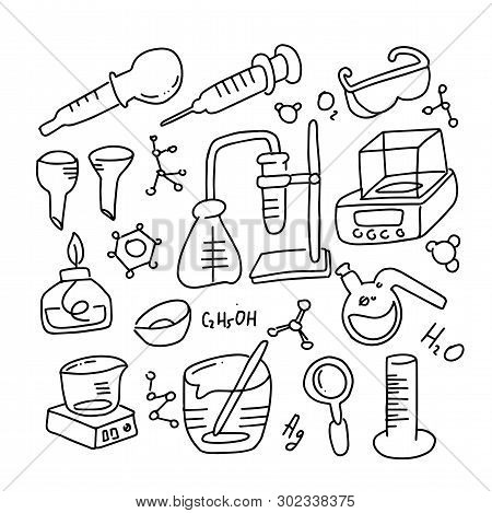 Set Of Laboratory Equipment In Black And White Outlined Doodle Style. Hand Drawn Childish Chemistry