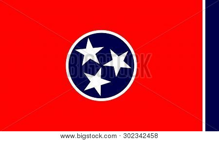 Vector Flag Illustration Of Tennessee State, United States Of America.