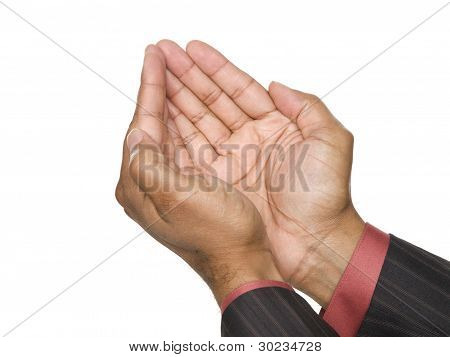 Businessman - Cupped Hands