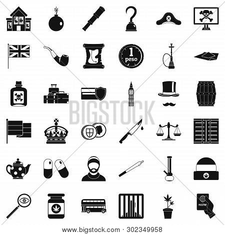 Offence Icons Set. Simple Set Of 36 Offence Icons For Web Isolated On White Background