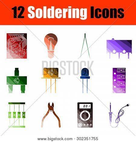 Soldering Icon Set. Flat Color Ladder Design. Vector Illustration.