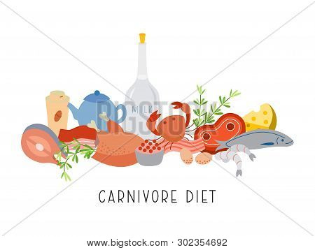 Carnivore Diet - Vector. Carnivore Diet - Banner. Carnivore Meal Set. Meat Food Set.excellent For Po
