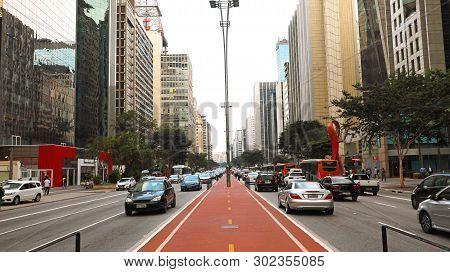 Sao Paulo, Brazil - May 9, 2019: Paulista Avenue Rush Hour, Sao Paulo