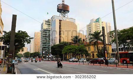Sao Paulo, Brazil - May 9, 2019: Paulista Avenue At Sunset, Sao Paulo, Brazil