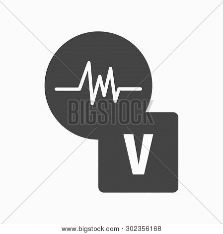White Heartbeat Icon In Black Circle, With Volt Icon. Vector Illustration. White Font