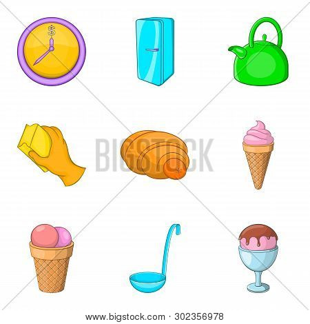 Household Goods Icons Set. Cartoon Set Of 9 Household Goods Icons For Web Isolated On White Backgrou