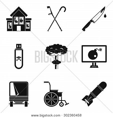 War tension icons set. Simple set of 9 war tension icons for web isolated on white background poster