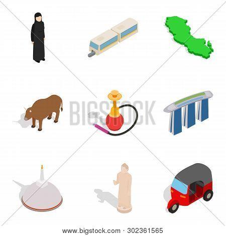 Risky Journey Icons Set. Isometric Set Of 9 Risky Journey Icons For Web Isolated On White Background