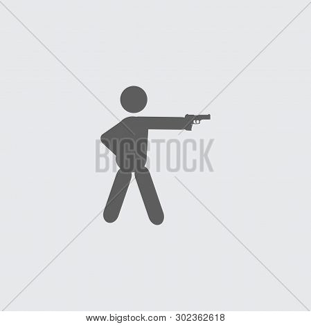 Black Flat Shooter, Shooting Man Vector Icon. On Grey Background.
