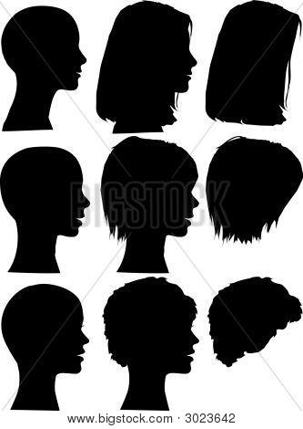 Female Silhouette Heads & Hair Styles.Eps