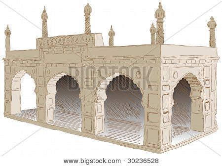 The style of architecture Islamist Afghanistan. Vector illustration. poster
