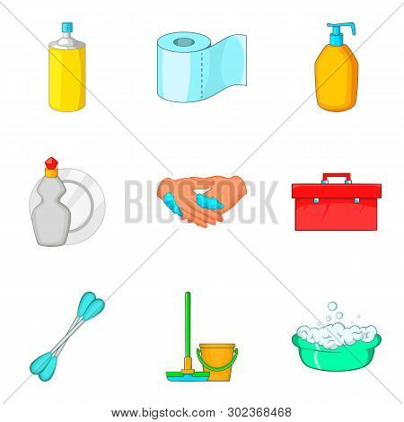 Toiletry icons set. Cartoon set of 9 toiletry icons for web isolated on white background poster
