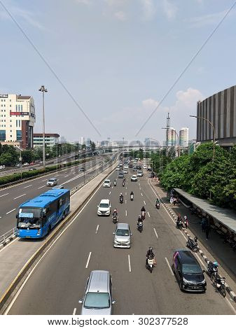 Jakarta, Indonesia - April 17, 2019: Traffic On Jalan S Parman In Slipi District.