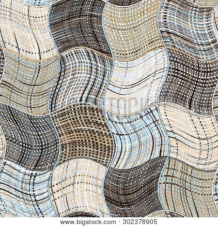 Grunge Striped And Checkered Wavy Background In Blue,black,beige,white Colors