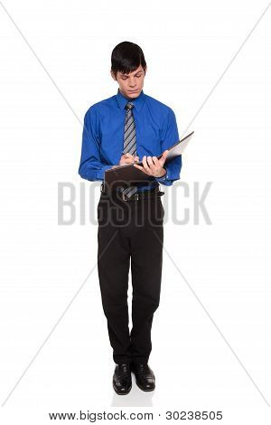 Taking Notes - Caucasian Businessman Writing On Blank Notepad