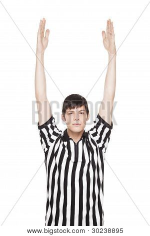 Young Adult Man In Referee Uniform Making Touchdown Sign