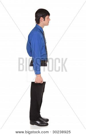 Caucasian Man Carrying Laptop