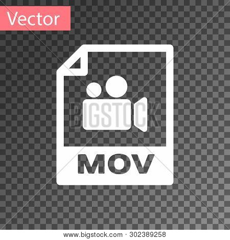White Mov File Document Icon. Download Mov Button Icon Isolated On Transparent Background. Mov File