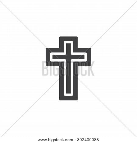 Religion Cross Vector Icon. Filled Flat Sign For Mobile Concept And Web Design. Holy Cross Glyph Ico