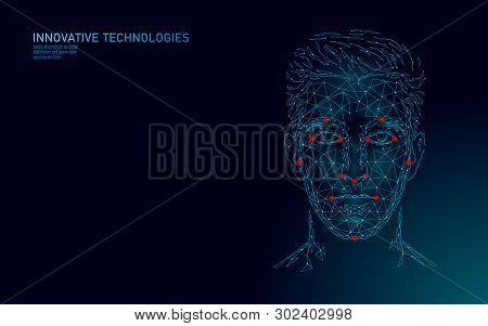 Low Poly Male Human Face Biometric Identification. Recognition System Concept. Personal Data Secure