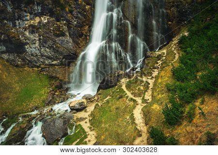 Waterfall In Nature. Waterfall In Mountain Nature. Mountain River Waterfall. Nature. Waterfall. Natu