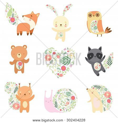 Cute Animals Decorated With Floral Seamless Pattern Set, Lovely Forest Animals Cartoon Characters Ve