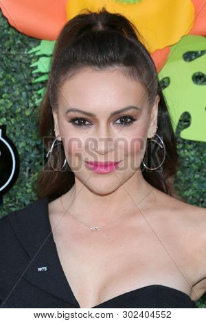 LOS ANGELES - MAY 20:  Alyssa Milano at the Lifetime TV Summer Luau at the W Hotel on May 20, 2019 in Westwood, CA