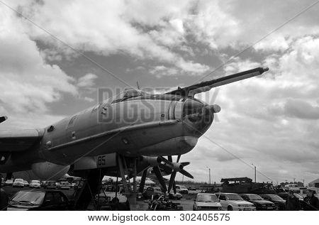 Tupolev Tu-95M3 Bear-F maritime reconnaissance and anti-submarine warfare aircraft at State Aviation Museum. May 10, 2019.Kiev, Ukraine