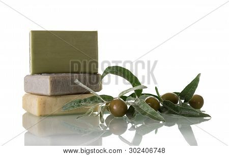 Natural Handmade Soap With Olive Oil Isolated On White Background