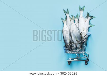 Bluefish In Grocery Trolley On Pastel Blue. Fish Pattern With Space For Text. Top View.