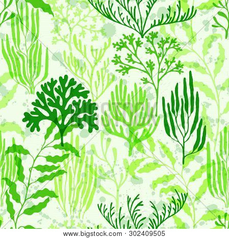 Coral Polyps Seamless Pattern. Kelp Laminaria Seaweed Algae Background. Exotic Marine Life Pattern.