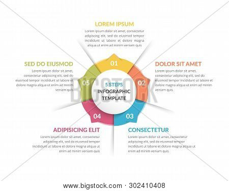 Circle Infographic Template With Five Steps Or Options, Process Chart, Vector Eps10 Illustration