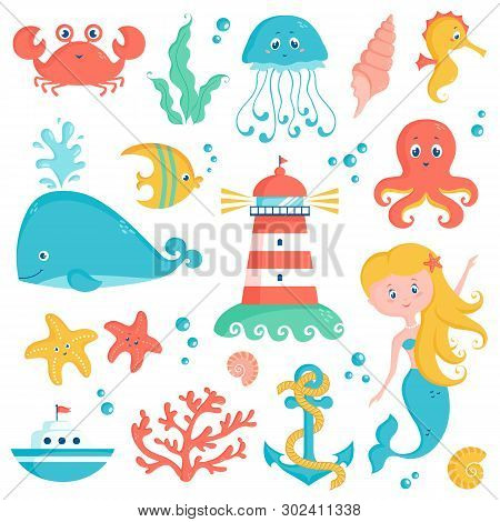 Sea Animals, Plants, And Nautical Objects - Whale, Seahorse, Octopus, Coral, Lighthouse, Anchor And