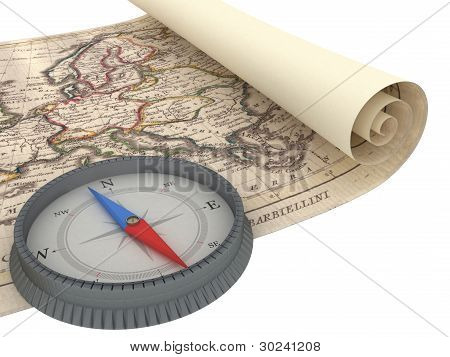 Old Map and Compass Isolated on white poster
