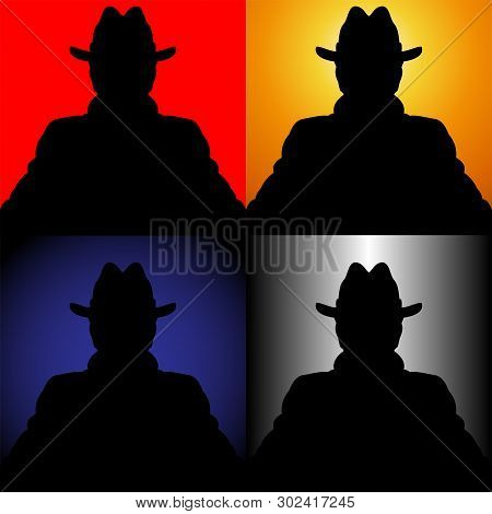 Illustration Of A Set Of Silhouettes Of The Unknown In A Hat