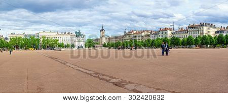 Lyon, France - May 09, 2019: Panoramic View Of Place Bellecour Square, With The Equestrian Statue Of